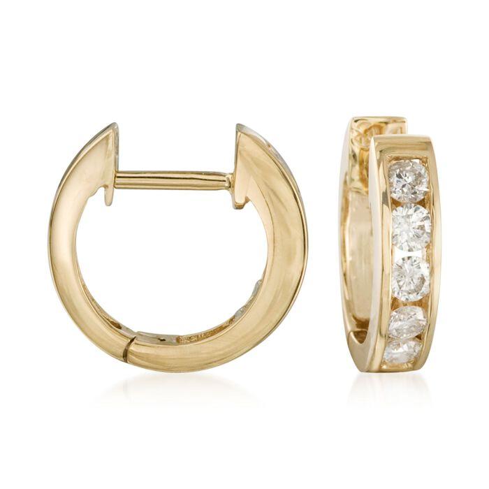 """.50 ct. t.w. Diamond Hoop Earrings in 14kt Yellow Gold. 3/8"""""""