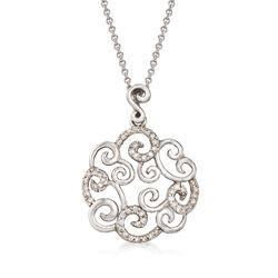 "C. 1990 Vintage .25 ct. t.w. Diamond Openwork Swirl Pendant Necklace in 14kt White Gold. 16"", , default"