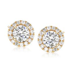 2.00 ct. t.w. Diamond Halo Earrings in 14kt Yellow Gold , , default