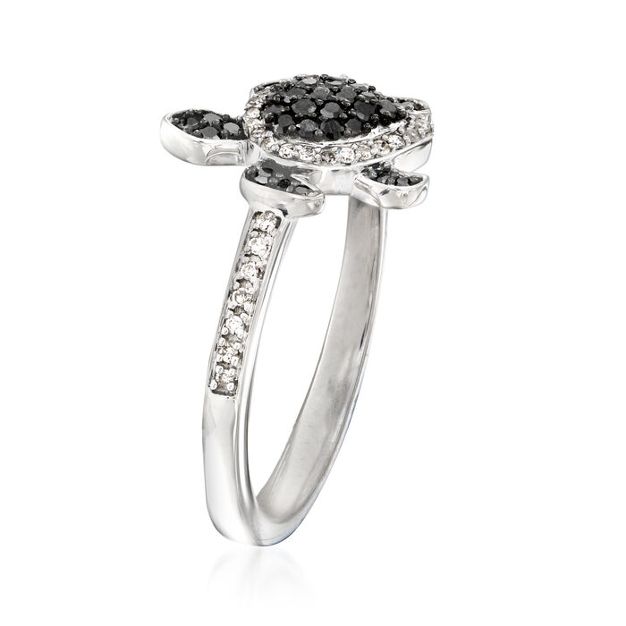 .25 ct. t.w. Black and White Diamond Turtle Ring in Sterling Silver