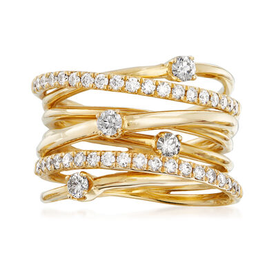 .75 ct. t.w. Diamond Highway Station Ring in 14kt Yellow Gold, , default