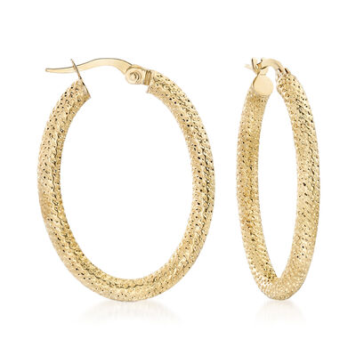 Italian 18kt Yellow Gold Textured Oval Hoop Earrings, , default