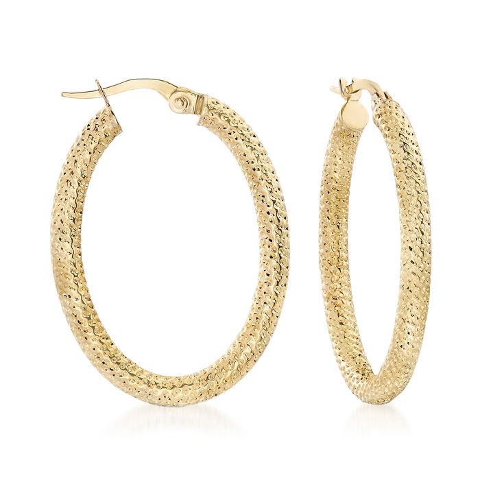 "Italian 18kt Yellow Gold Textured Oval Hoop Earrings. 1 1/4"", , default"