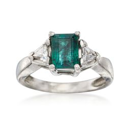 C. 2000 Vintage .80 Carat Emerald and .40 ct. t.w. Diamond Ring in Platinum. Size 5, , default