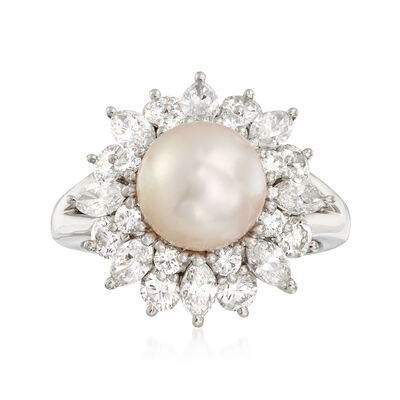 C. 1980 Vintage 8.5mm Cultured Pearl and 1.91 ct. t.w. Diamond Ring in Platinum, , default