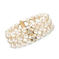 "C. 1970 Vintage 7.5mm Cultured Pearl Three-Row Bracelet With Diamond Accents and 14kt Gold. 7"", , default"