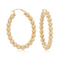Andiamo 14kt Yellow Gold Beaded Hoop Earrings, , default