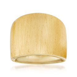 Italian 14kt Yellow Gold Wide Brushed Ring, , default