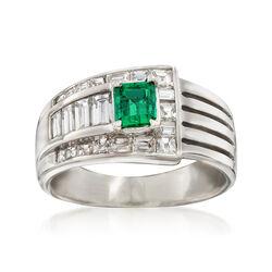 C. 1990 Vintage .50 Carat Emerald and 1.08 ct. t.w. Diamond Ring in Platinum, , default