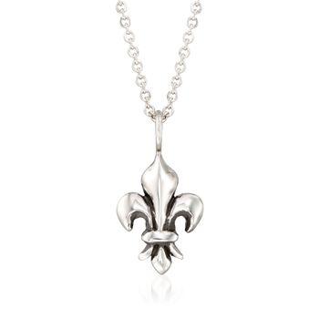 """Zina Sterling Silver """"Fleur De Lis"""" Pendant Necklace. 17"""", , default"""