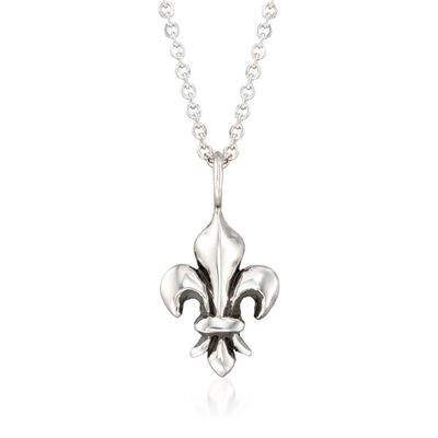 "Zina Sterling Silver ""Fleur De Lis"" Pendant Necklace, , default"