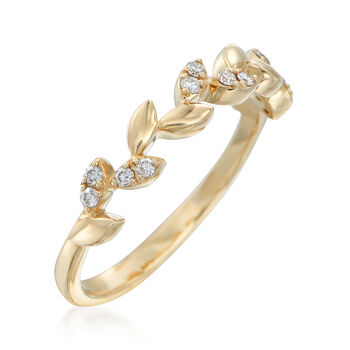.12 ct. t.w. Diamond Leaf Ring in 14kt Yellow Gold