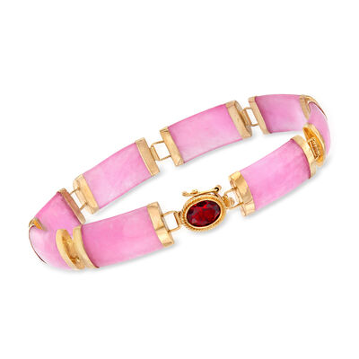 C. 1990 Vintage Pink Jade Bracelet in 14kt Yellow Gold, , default