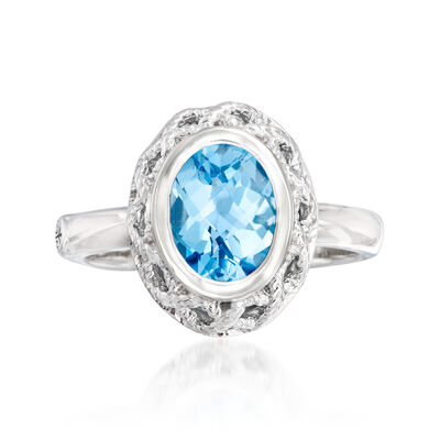 "Andrea Candela ""Rioja"" 2.00 Carat Blue Topaz Ring in Sterling Silver, , default"