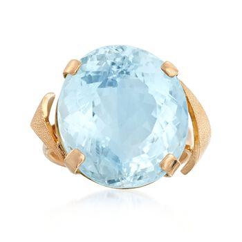 C. 1960 Vintage 15.70 Carat Aquamarine Ring in 18kt Yellow Gold. Size 4, , default