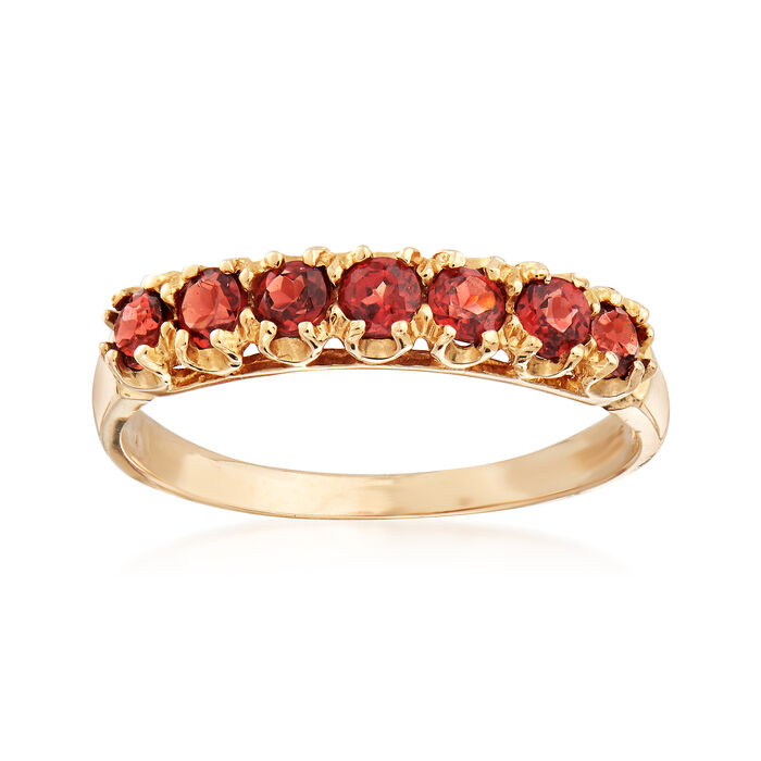 C. 1990 Vintage .60 ct. t.w. Garnet Band in 10kt Yellow Gold. Size 7, , default