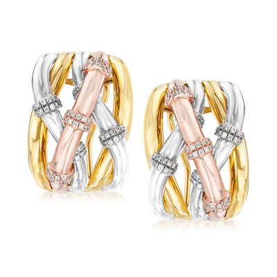 .57 ct. t.w. Diamond Station Twist Earrings in 14kt Tri-Colored Gold, , default