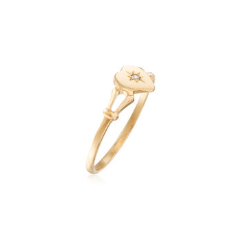 Child's 14kt Yellow Gold Heart Ring with Diamond Accent. Size 4, , default