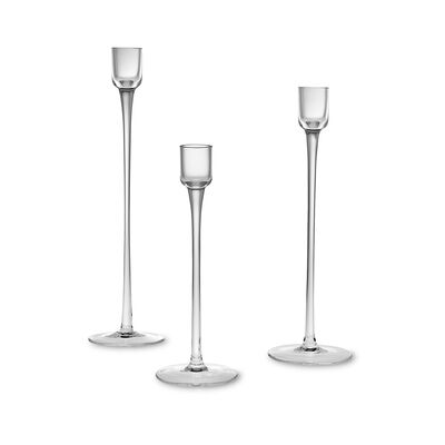 Set of Three Glass Candlestick Holders, , default