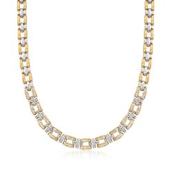 "C. 1990 Vintage 4.00 ct. t.w. Diamond Panther-Style Link Necklace in 14kt Two-Tone Gold. 17"", , default"