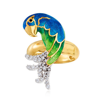 Italian .40 ct. t.w. CZ and Multicolored Enamel Parrot Ring in Sterling Silver and 18kt Gold Over Sterling, , default