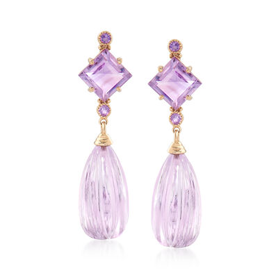 20.30 ct. t.w. Amethyst Drop Earrings in 14kt Yellow Gold, , default