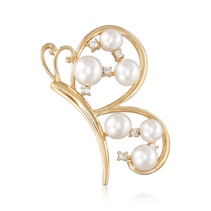 Cultured Pearl and .11 ct. t.w. Diamond Butterfly Pin