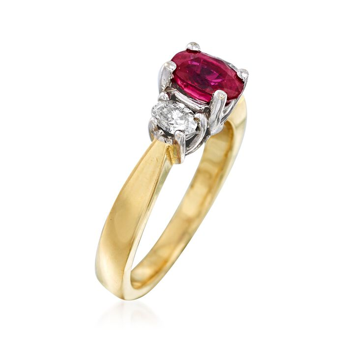 C. 1990 Vintage 1.00 Carat Ruby and .40 ct. t.w. Diamond Ring in 14kt Two-Tone Gold