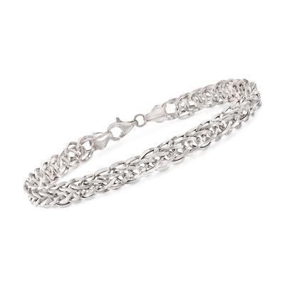 14kt White Gold Wheat Link Bracelet , , default