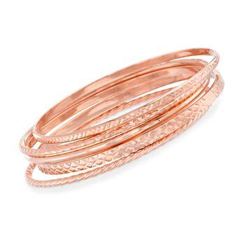 18kt Rose Gold Over Sterling Silver Jewelry Set: Five Bangle Bracelets, , default