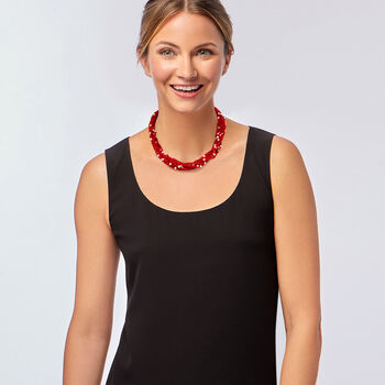 """Red Coral and Cultured Pearl Torsade Necklace with Sterling Silver. 18"""", , default"""
