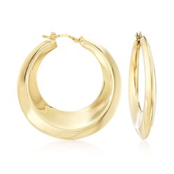 "Italian 18kt Yellow Gold Graduated Hoop Earrings. 1 1/2"", , default"