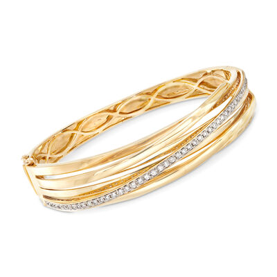 .82 ct. t.w. Diamond Striped Bangle in 14kt Yellow Gold, , default