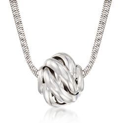 "Italian Sterling Silver Swirl Bead Necklace. 18"", , default"