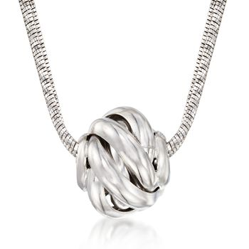 "Italian Sterling Silver Swirl Bead Necklace. 18"", , default"