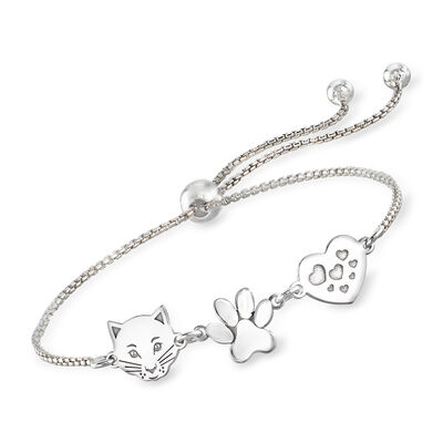 Italian Sterling Silver Cat, Paw and Heart Bolo Bracelet