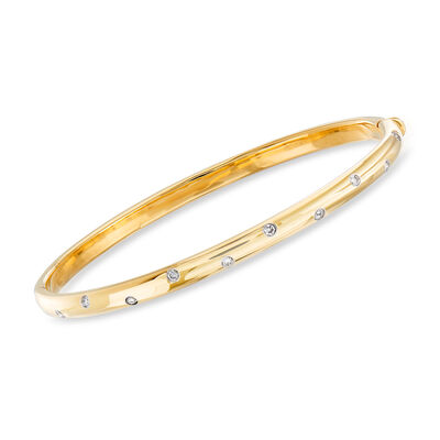"C. 1990 Vintage Tiffany Jewelry ""Etoile"" .25 ct. t.w. Diamond Bangle Bracelet in 18kt Yellow Gold, , default"