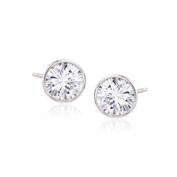 3.00 ct. t.w. Bezel-Set CZ Stud Earrings in Sterling Silver, , default