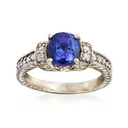 C. 1990 Vintage 1.85 Carat Tanzanite and .25 ct. t.w. Diamond Ring in 14kt White Gold, , default
