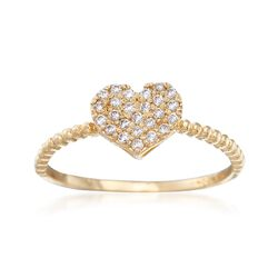 .10 ct. t.w. Pave CZ Heart Ring in 14kt Yellow Gold, , default