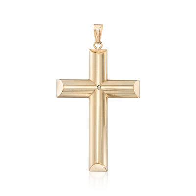Andiamo 14kt Yellow Gold Cross Pendant, , default