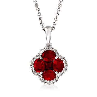 Gregg Ruth 1.43 ct. t.w. Ruby and .14 ct. t.w. Diamond Clover Pendant Necklace in 18kt White Gold, , default