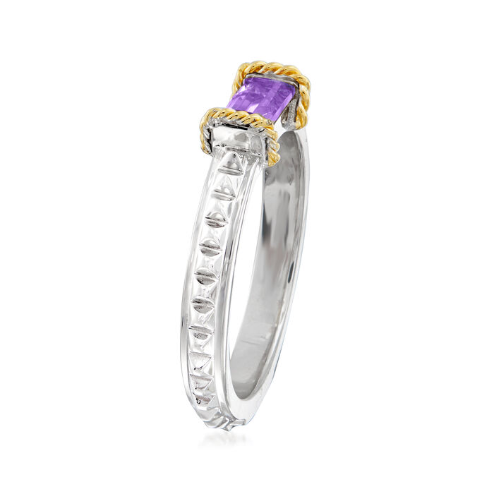 "Andrea Candela ""La Romana"" .46 Carat Amethyst Ring in Sterling Silver and 18kt Yellow Gold"