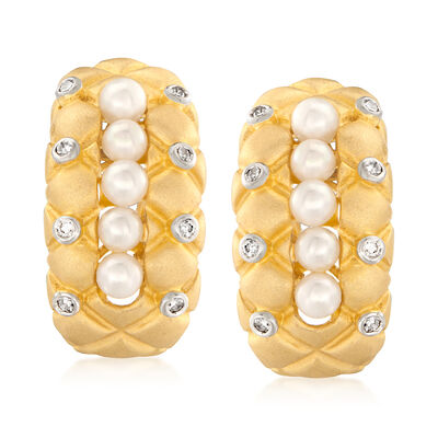 C. 1990 Vintage 3.5mm Cultured Pearl and .20 ct. t.w. Diamond Quilted Earrings in 18kt Yellow Gold, , default