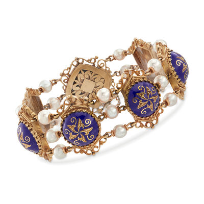 C. 1950 Vintage 5mm Cultured Pearl and Blue Enamel Floral Scroll Bracelet in 14kt Yellow Gold