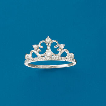 .19 ct. t.w. Diamond Crown Ring in 14kt White Gold, , default