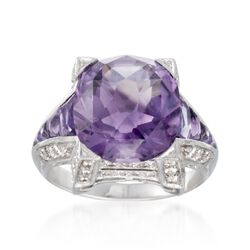 C. 2000 Vintage 7.95 ct. t.w. Amethyst Ring With Diamonds in 14kt White Gold. Size 7, , default