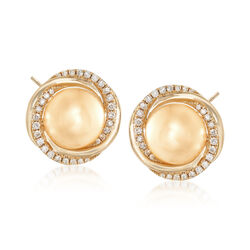 9-11mm Cultured Golden South Sea Pearl and .42 ct. t.w. Diamond Swirl Earrings in 18kt Yellow Gold, , default