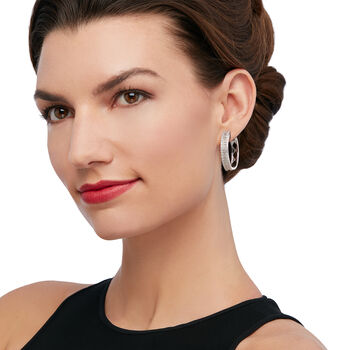 "3.00 ct. t.w. Baguette and Round Diamond Hoop Earrings in Sterling Silver. 1 1/8"", , default"