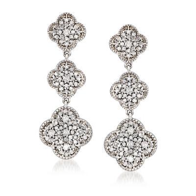 1.00 ct. t.w. Diamond Graduated Clover Drop Earrings in Sterling Silver, , default